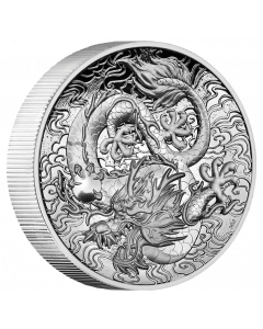 2021 2 oz Australia Chinese Myths and Legends - Dragon .9999 Silver High Relief Proof Coin