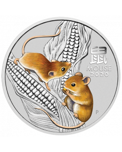 2020 1/4oz Australia Lunar Series III Year of the Mouse Sydney Money Expo Special 9999 Silver Coloured Coin