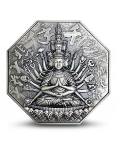 2020 5 oz Niue Eight Protectors Series - Goddess of Mercy With One Thousand Hands .999 Silver Antique Super Ultra High Relief Coin