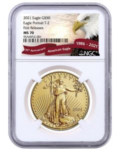 2021 1oz America Eagle .9167 Gold Coin Type2  (NGC MS70 First Release)