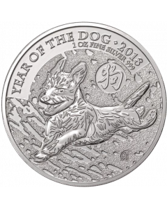 2018 1 oz Great Britain Lunar Series - Year of the Dog .999 Silver Coin