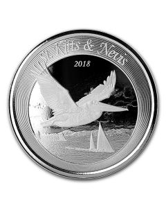 2018 1 oz St. Kitts & Nevis Brown Pelican Silver Coin BU