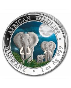 2014 1 oz Somalian African Elephant Colorized .999 Silver (Spotted)