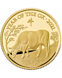 2021 1/4oz Great Britain Lunar Series Year of the  Ox .9999 Gold Proof Coin