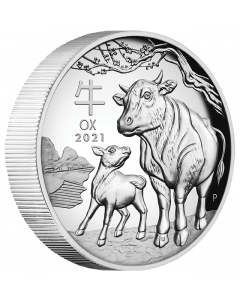 2021 1 oz Australia Lunar Series III - Year of the Ox .9999 Silver High Relief Proof Coin