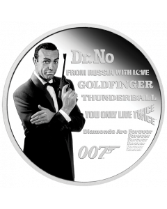 2021 1oz Tuvalu James Bond Legacy Series - First Issue.9999 Silver Proof Coloured Coin