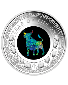2021 1 oz Australia Year of the Ox Opal Lunar Series .9999 Silver Proof Coin