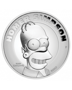 2021 2 oz Tuvalu Homer Simpson .9999 Silver Proof High Relief Coin