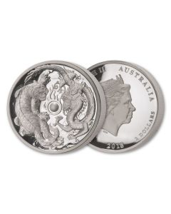2018 2 oz Australia Dragon and Tiger .9999 Silver High Relief Proof Coin