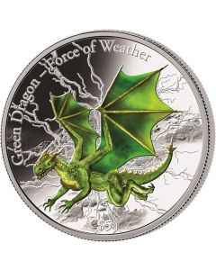 2017 3 oz Fiji Force of Weather - Green Dragon .999 Silver Proof Coin