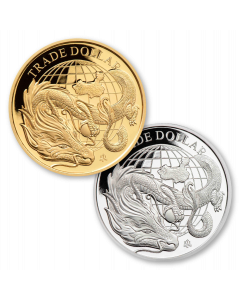 2021 St Helena Modern Chinese Trade Dollar Gold and Silver Proof 2 Coin Set (Certificate # 6)