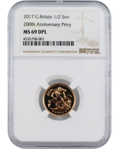 2017 3.99 gram Great Britain Half Sovereign 200th Anniversary Privy .9167 Gold Coin (NGC MS69)