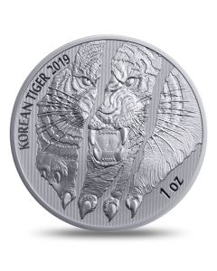 2019 1 oz South Korea Tiger .999 Silver Proof Latent Medal