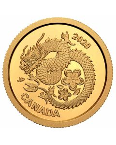 2020 1.27gram Canada Lucky Flower Dragon .9999 Gold Proof Coin