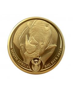 2020 1 oz South Africa Big Five - Rhino 9999 Gold Proof Coin