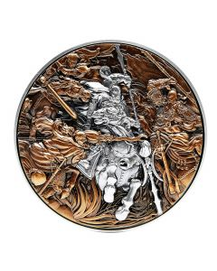 2021 2oz Chad Lu Bu in The Battle Against Three Heroes .999 Silver Antique High Relief Coin