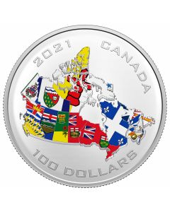 2021 10 oz Canada Canada's Provincial & Territorial Flags.9999 Silver Proof Coin