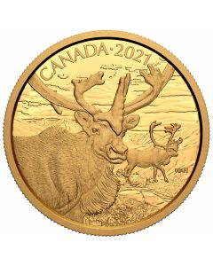2021 35g Canada Wildife Portraits -   The Caribou.99999 Gold Proof Coin