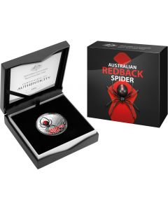 2021 1 oz Australia's Most Dangerous - Redback Spider 999 Silver Coloured Proof Coin (Certificate #9)