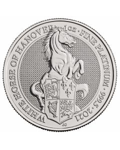 2021 1 oz Great Britain Queen's Beasts - The White Horse 9995 Platinum BU Coin