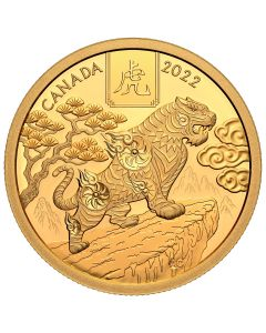 2022 1/2oz Canada Lunar Year of The Tiger .9999 Gold Proof Coin