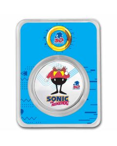 2021 1 oz Niue Sonic the Hedgehog 30th Anniversary - Doctor Eggman 999 Silver Colorized Coin