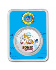 """2021 1 oz Niue Sonic the Hedgehog 30th Anniversary - Miles """"Tails"""" 999 Silver Colorized Coin"""