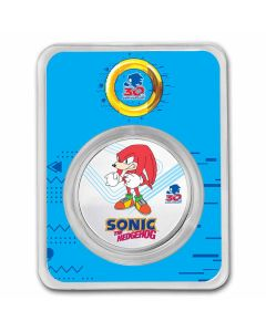 2021 1 oz Niue Sonic the Hedgehog 30th Anniversary - Knuckles 999 Silver Colorized Coin