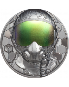 2020 3 oz Cook Islands Real Hero - Fighter Pilot .999 Silver Black Proof Coin