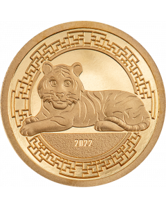 2022 0.5gram Mongolia Year of the Tiger .9999 Gold Proof Coin