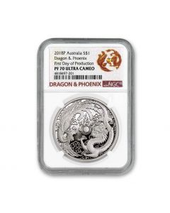 2018 1 oz Australia Dragon and Phoenix .9999 Silver Proof Coin (NGC First Day of Production PF70 Ultra Cameo)