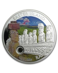 2014 25 gram Cook Islands Easter Island Rapa Nui .925 Silver Proof Coin