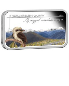 2015 1oz Australia Sunburnt Country - Of Ragged Mountain Ranges .999 Silver Proof Rectangle Coin