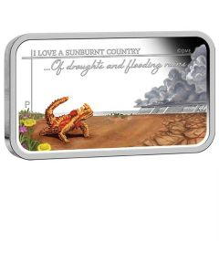 2015 1oz Australia Sunburnt Country - Of Droughts and Flooding Rains .999 Silver Proof Rectangle Coin