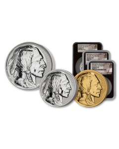 2021 Gold & Silver Fraser Lost Buffalo Ultra High Relief Reverse Proof Medal 3pc Set (NGC PF70 FDI)