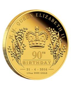 2016 1/4oz Her Majesty Quee Elizabeth II 90th Birthday 9999 Gold Proof Coin
