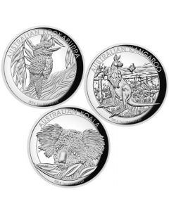2014 1oz Australia Three-Coin Collection High Relief .999 Silver Proof Coins