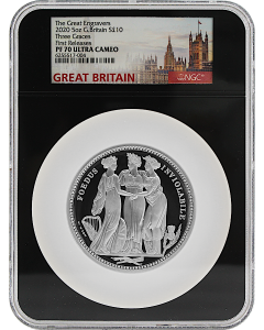 2020 5oz Great Britain The Great Engravers Collection - Three Graces Silver Proof Coin - NGC PF70