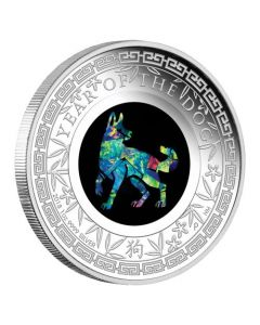 2018 1 oz Australia Opal Lunar Series - Year of the Dog .9999 Silver Proof Coin