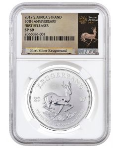 2017 1 oz South Africa Krugerrand .999 Silver Coin (NGC SP69 First Releases - Exclusive Krugerrand Label)