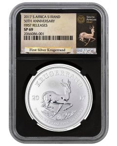 2017 1 oz South Africa Krugerrand .999 Silver Coin (NGC SP69 First Releases - Black Core Exclusive Krugerrand Label)