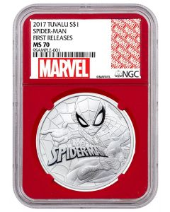 2017 1oz Tuvalu Marvel Series - Spiderman .9999 Silver Coin BU (NGC MS70 First Releases - Red Core Exclusive Marvel Label)