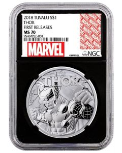 2018 1 oz Tuvalu Marvel Series - Thor 9999 Silver Coin (NGC MS70 First Release Black Core)