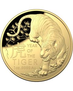 2022 1oz Australia Lunar Year of the Tiger .9999 Gold  Proof Domed Coin