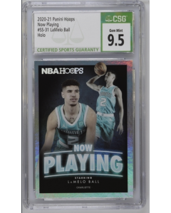 2020-21 Panini Hoops Now Playing Lamelo Ball Holo CSG 9.5