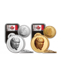 2021 Canada Bold Bison 9999 Extraordinarily High Relief Gold and Silver Proof 2 Coin Set (NGC PF70 FDI)(Certificate # 99)