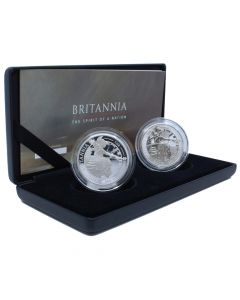 2019 1 oz Great Britain Britannia .999 Silver Proof & Reverse Proof Two Coin Set