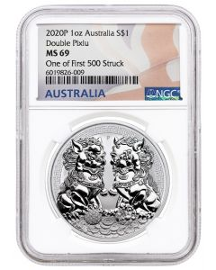 2020 1 oz Australia Guardian Lions (Double Pixiu) 9999 Silver Coin (NGC MS69 One of First 500 Struck)