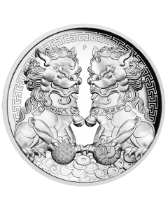 2020 2 oz Australia Guardian Lions (Double Pixiu) .9999 Silver High Relief Proof Coin (Blemished)