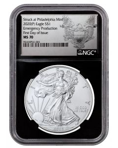 2020 1oz America Eagle .999 Silver Coin (Emergency Production NGC MS70 First Day of Issue Black Core Holder Exclusive Heraldic Eagle Label)